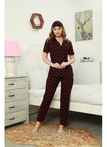 POKY POKY Kadın Pijama Takımı Kısa Kol Düğmeli Kelebek Desenli Göz Bantlı Pembe